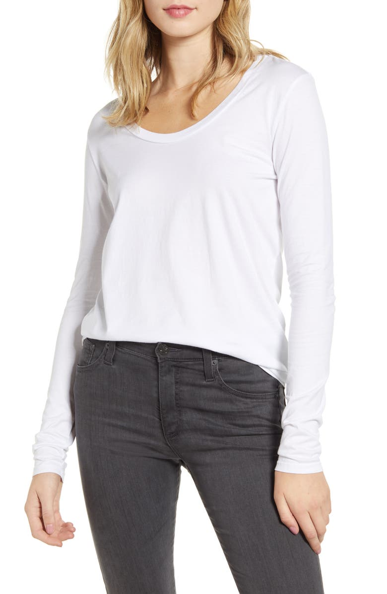 AG Cambria Long Sleeve Tee, Main, color, TRUE WHITE