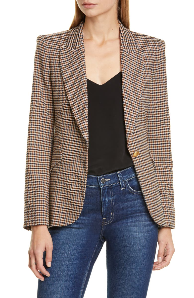L'AGENCE Chamberlain Houndstooth Blazer, Main, color, COMEY HOUNDSTOOTH