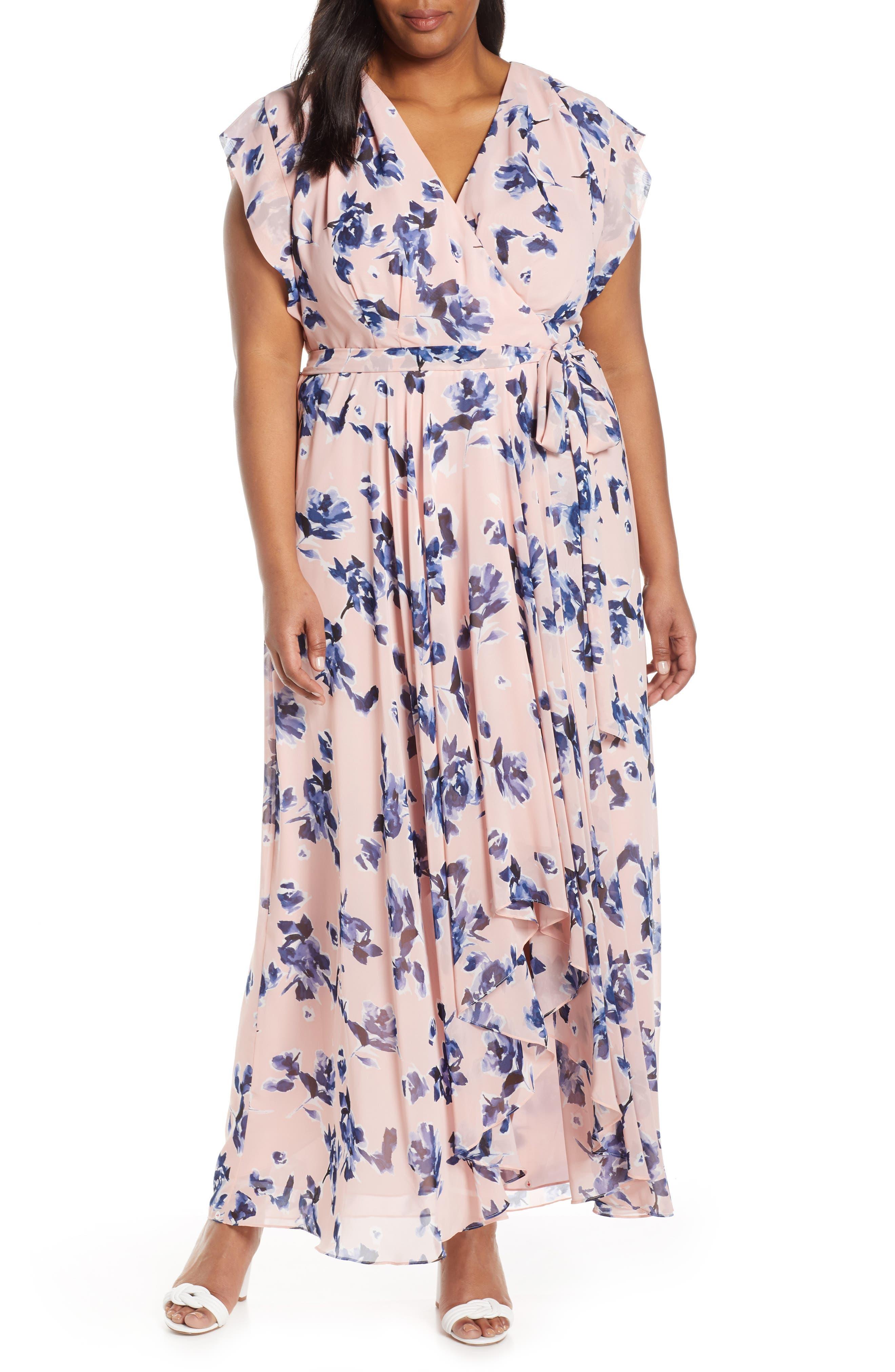 Plus Size Eliza J Faux Wrap Chiffon Maxi Dress, Pink