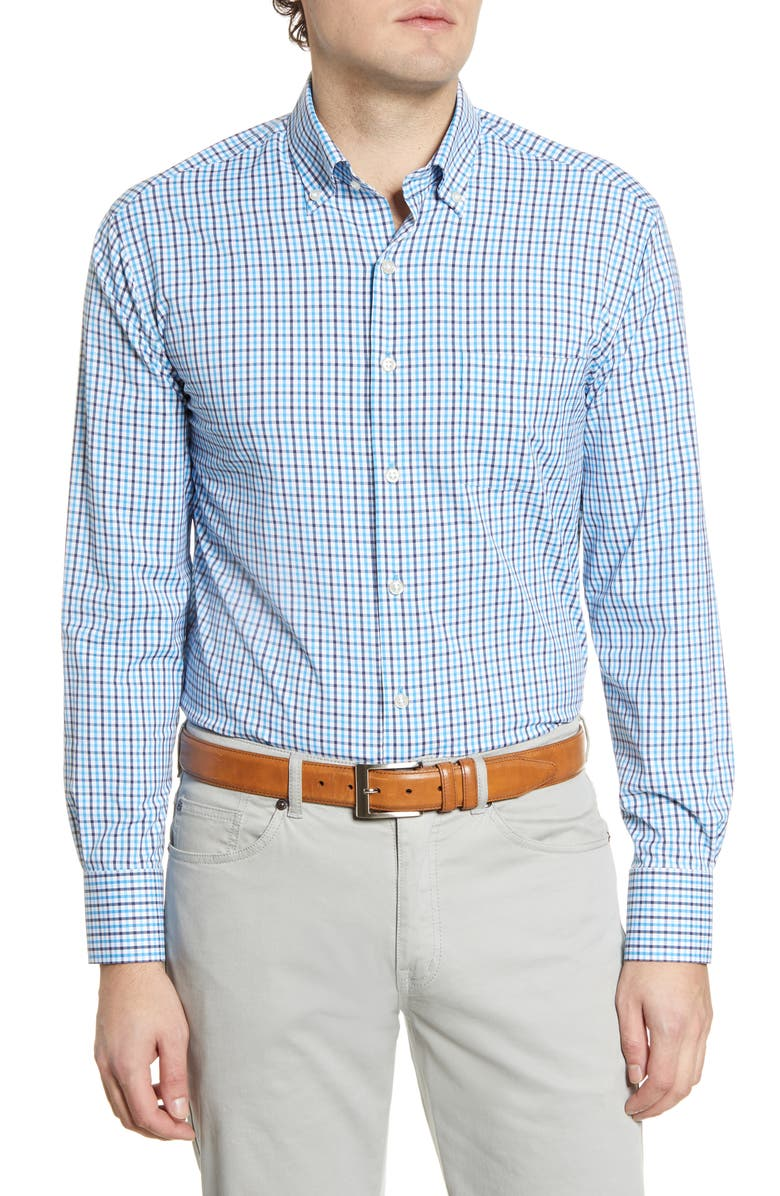 PETER MILLAR Peter Miller Plaid Button-Down Performance Shirt, Main, color, RIVERBED