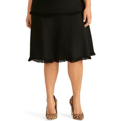 Plus Size Rachel Roy Collection Fringe Fit & Flare Sweater Skirt, Black