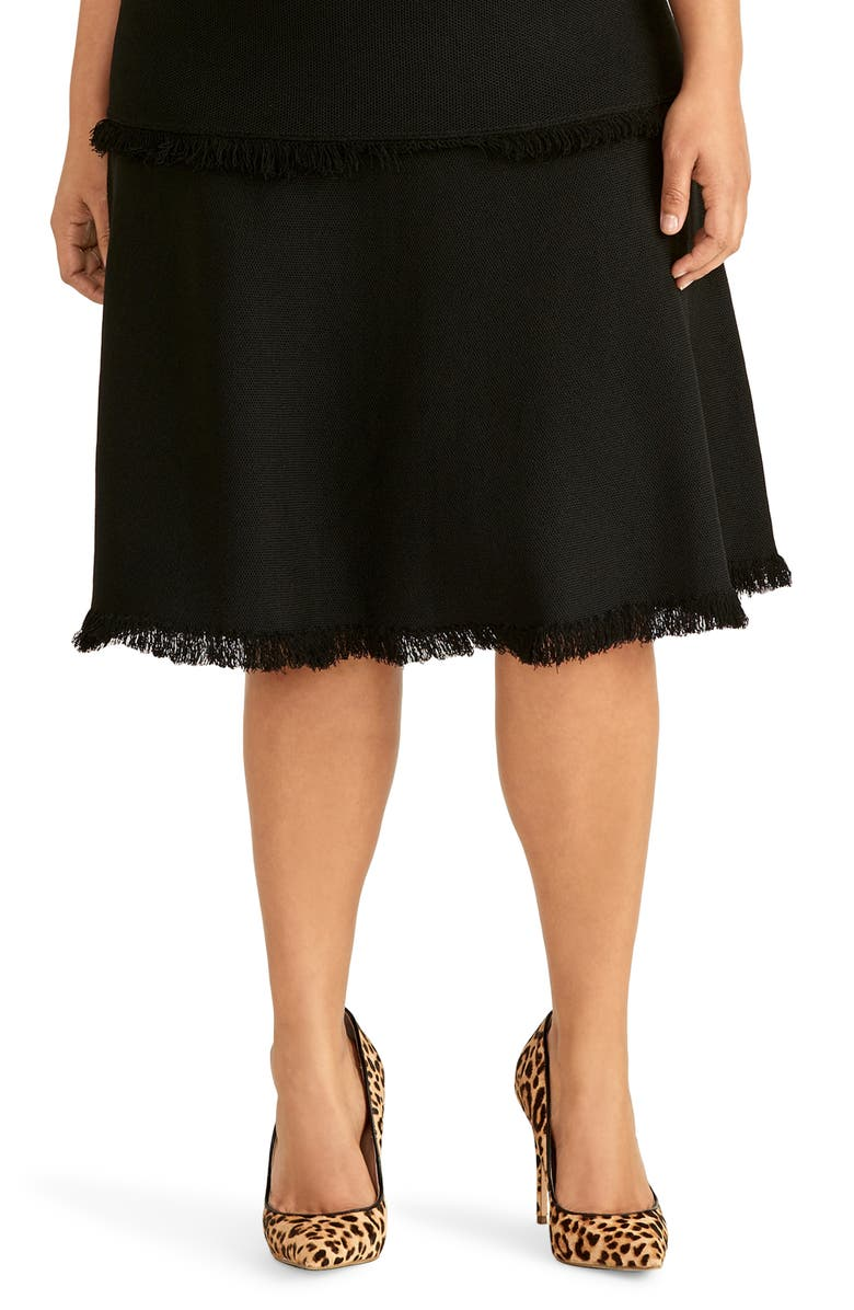 RACHEL ROY COLLECTION Fringe Fit & Flare Sweater Skirt, Main, color, BLACK