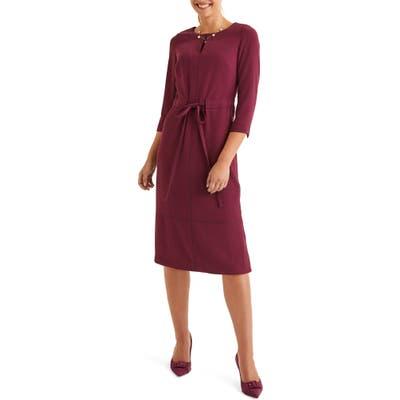 Boden Addie Tie Waist Dress, Burgundy