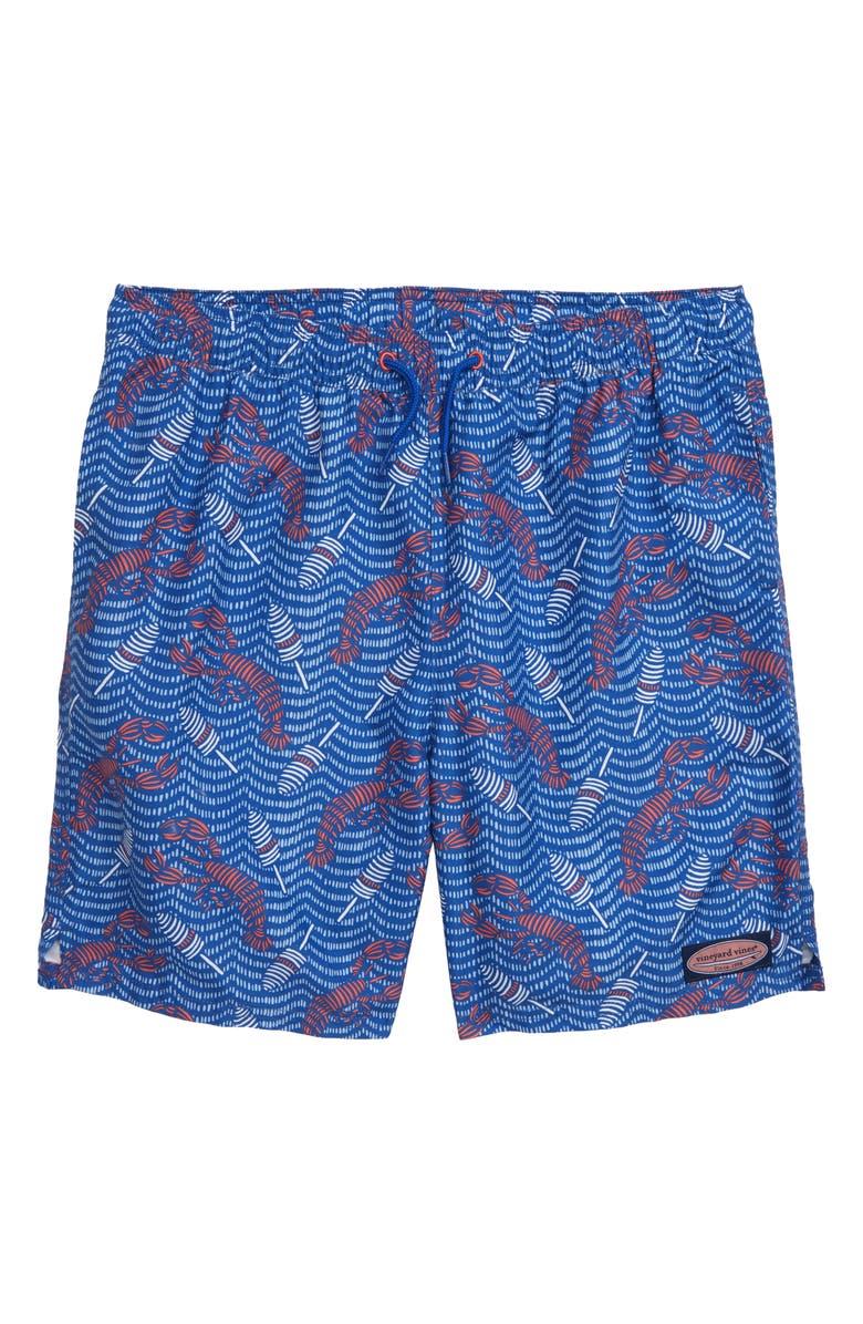 VINEYARD VINES Lobsters & Buoys Chappy Swim Trunks, Main, color, KINGFISHER