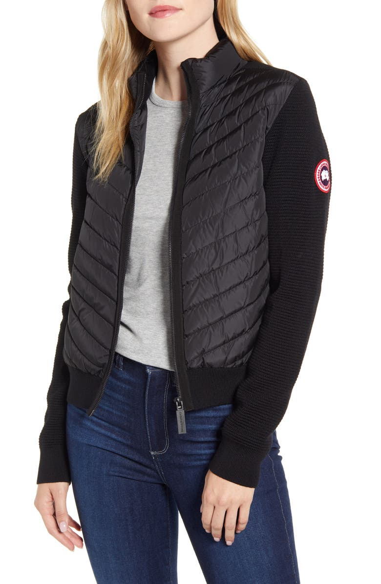 CANADA GOOSE Hybridge Quilted & Knit Jacket, Main, color, BLACK