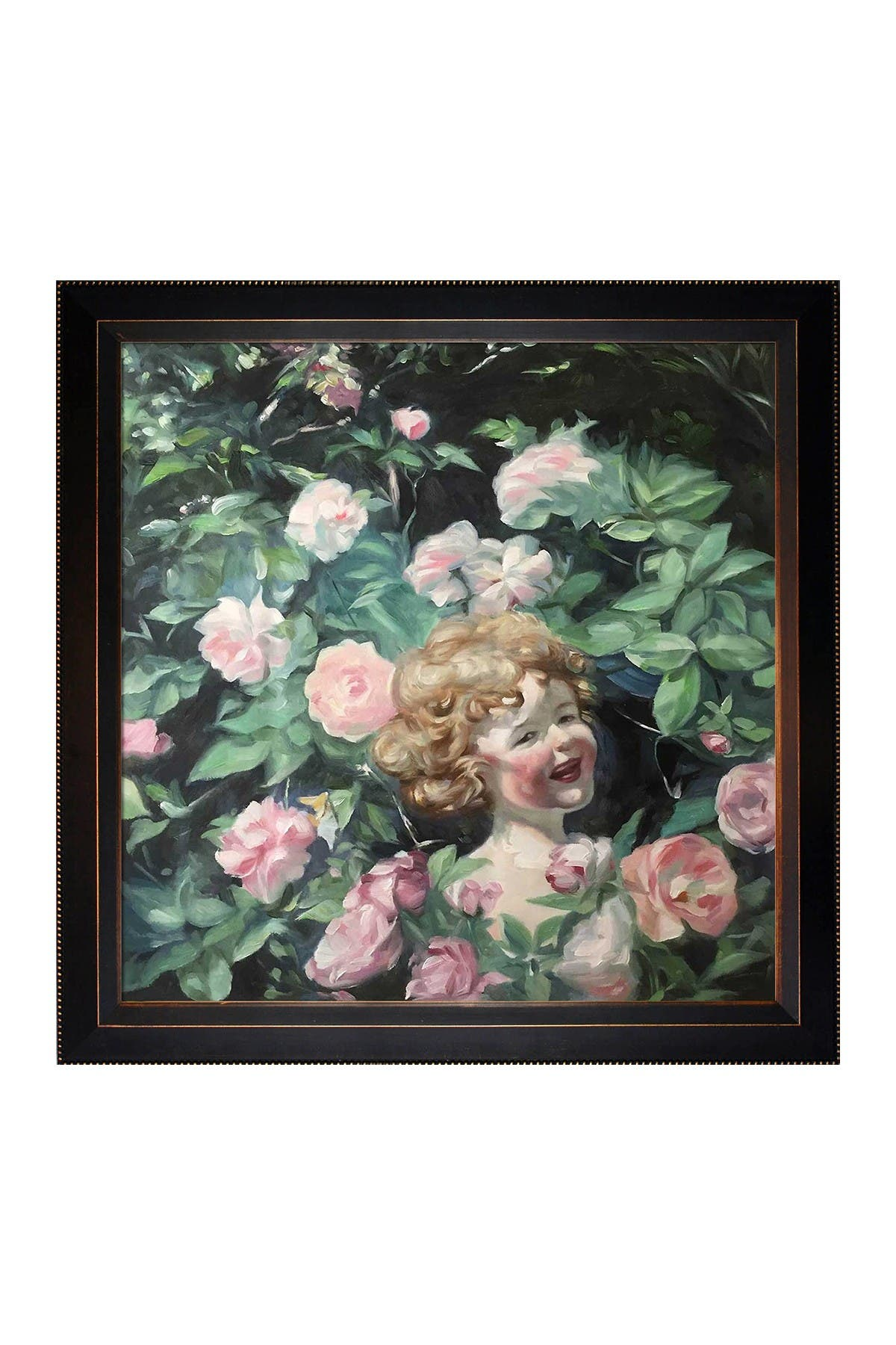 Overstock Art Among the Roses with Veine D\\\'Or Bronze Angled Frame , 29\\\