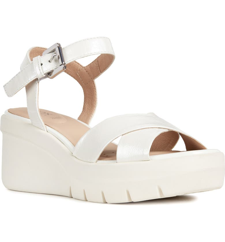 GEOX Torrence Platform Sandal, Main, color, WHITE FAUX LEATHER