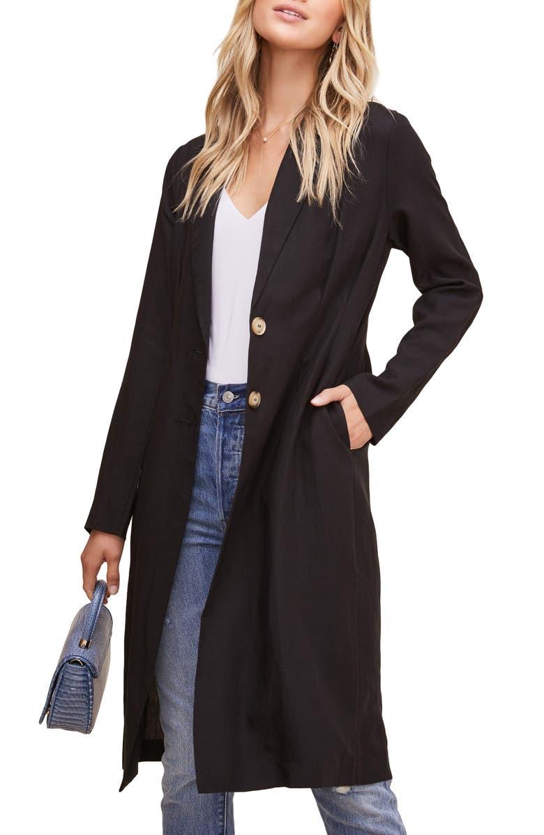 ASTR THE LABEL Reede Long Jacket, Main, color, BLACK