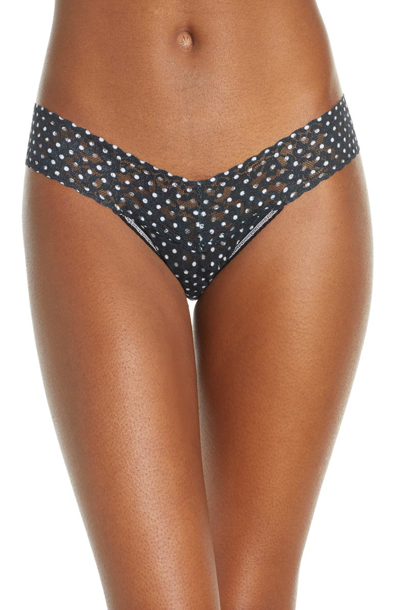 HANKY PANKY Inside Out Low Rise Lace Thong, Main, color, WHITE/ BLACK