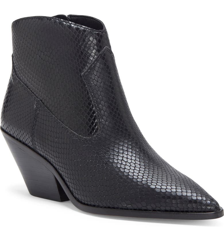 VINCE CAMUTO Jemeila Snake Embossed Bootie, Main, color, BLACK LEATHER