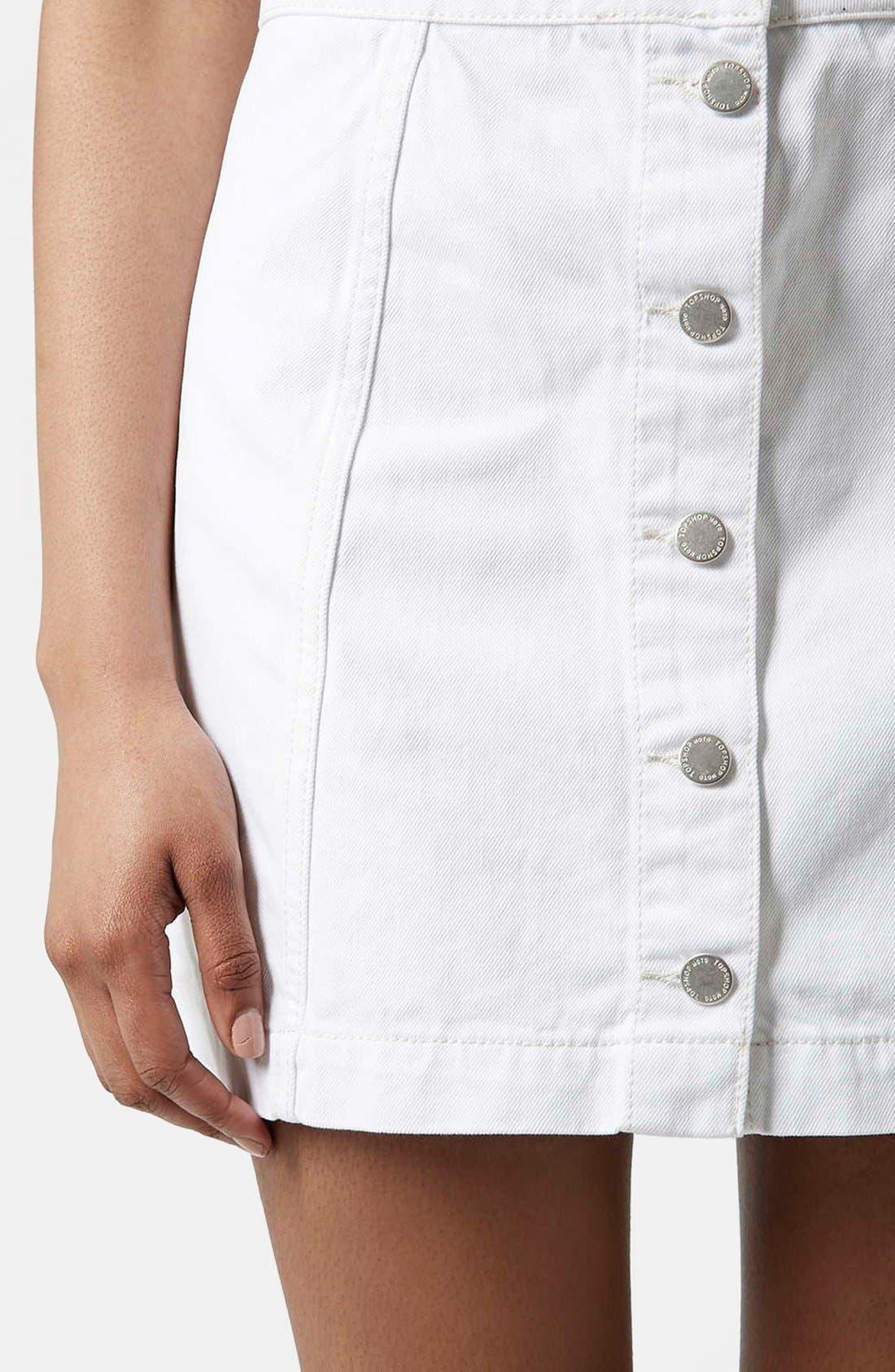 ,                             Moto Button Front Denim Skirt,                             Alternate thumbnail 2, color,                             100