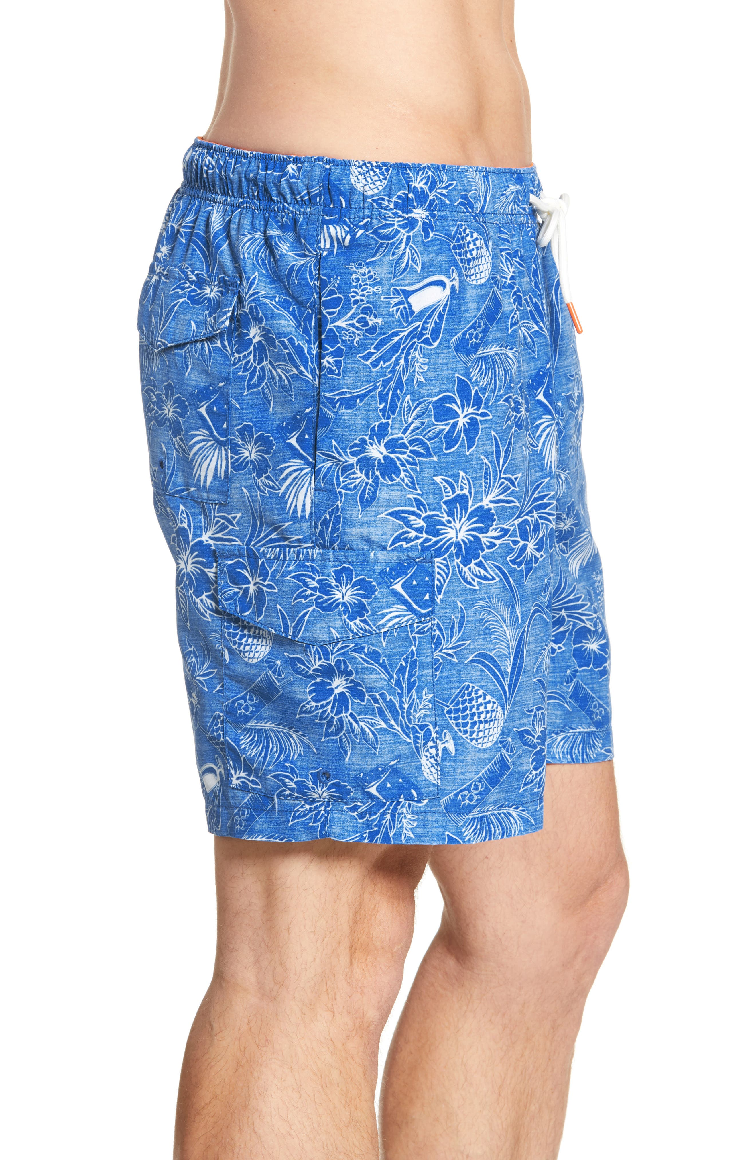,                             Naples Tiki Luau Print Swim Trunks,                             Alternate thumbnail 3, color,                             MADRAS BLUE