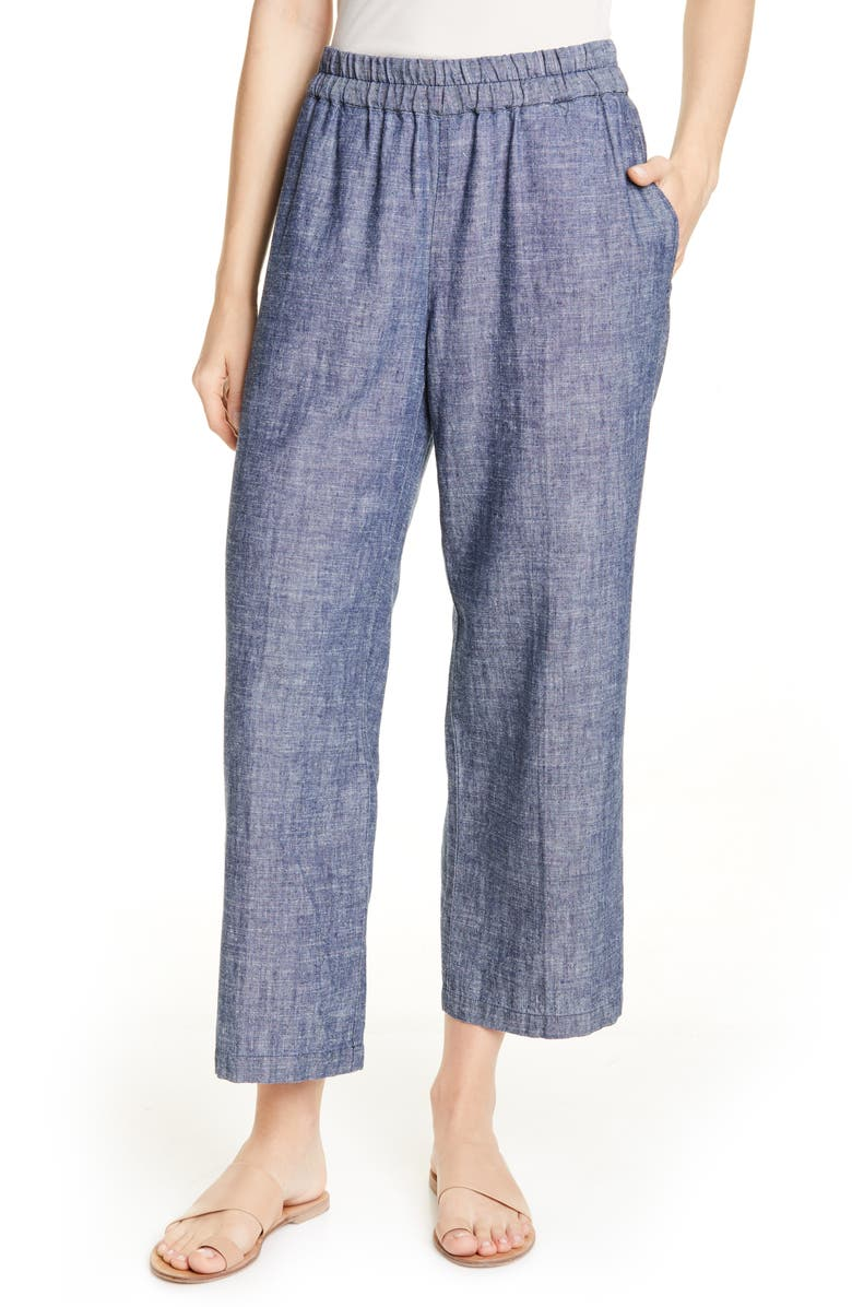 EILEEN FISHER Crop Hemp & Organic Cotton Pants, Main, color, DENIM