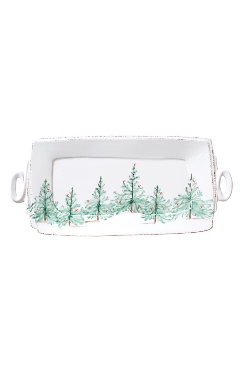 VIETRI Lastra Holiday Handled Rectangular Platter, Main, color, 360