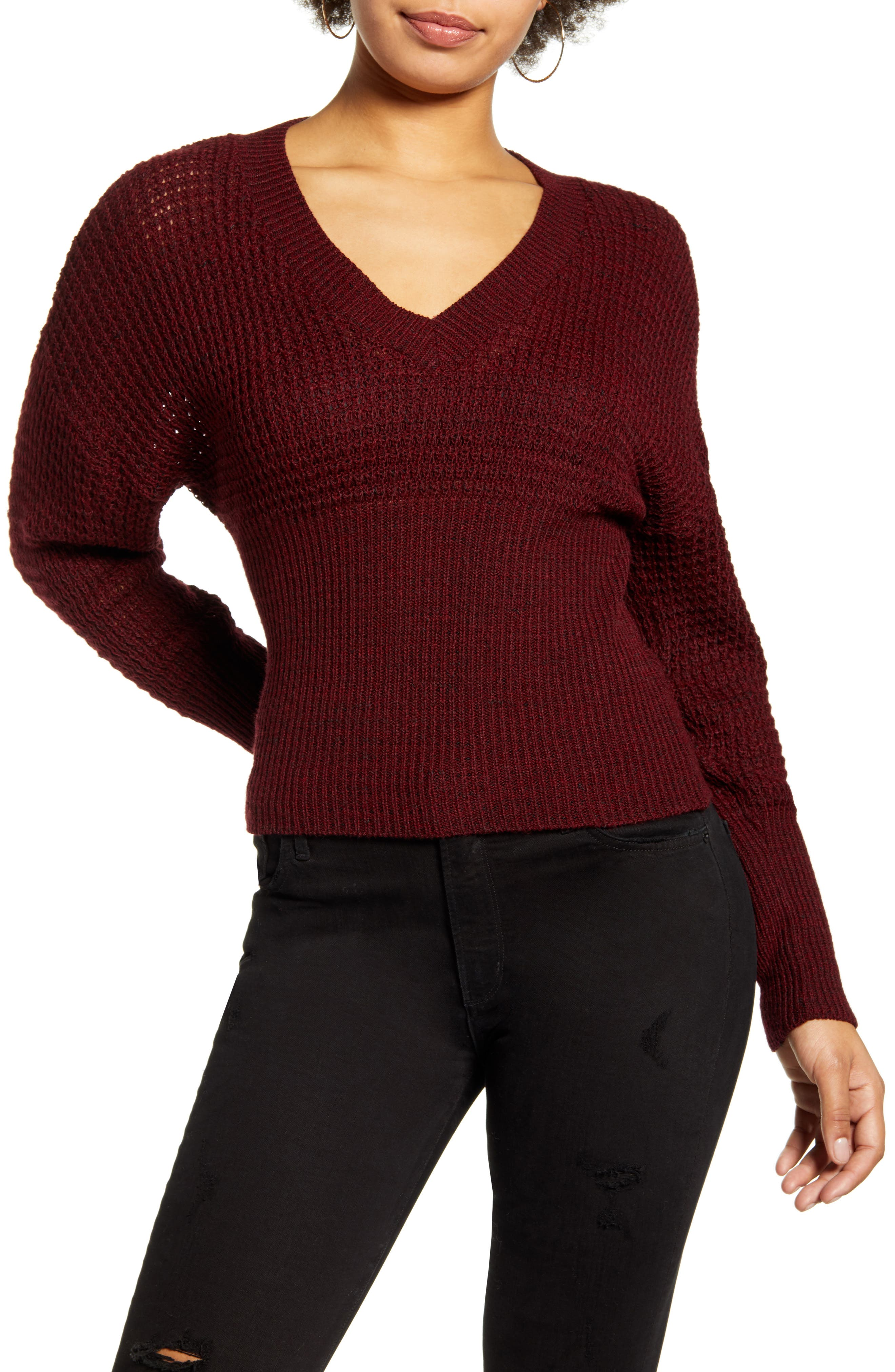 1930s Style Blouses, Shirts, Tops | Vintage Blouses Womens Leith Dolman Sleeve V-Neck Sweater Size XX-Small - Red $35.40 AT vintagedancer.com