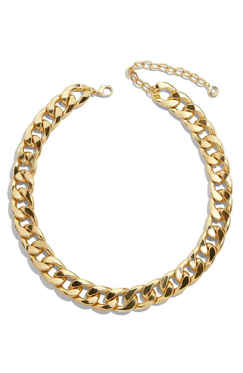 BAUBLEBAR Michaela Curb Chain Collar Necklace, Main, color, GOLD