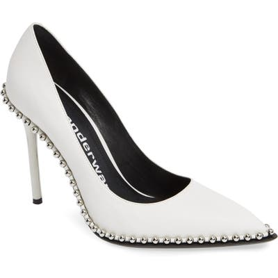 Alexander Wang Rie Stud Pointy Toe Pump, White