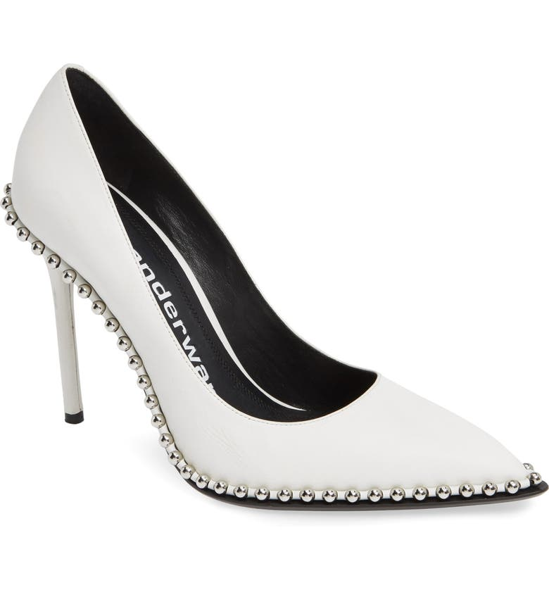 ALEXANDER WANG Rie Stud Pointy Toe Pump, Main, color, WHITE