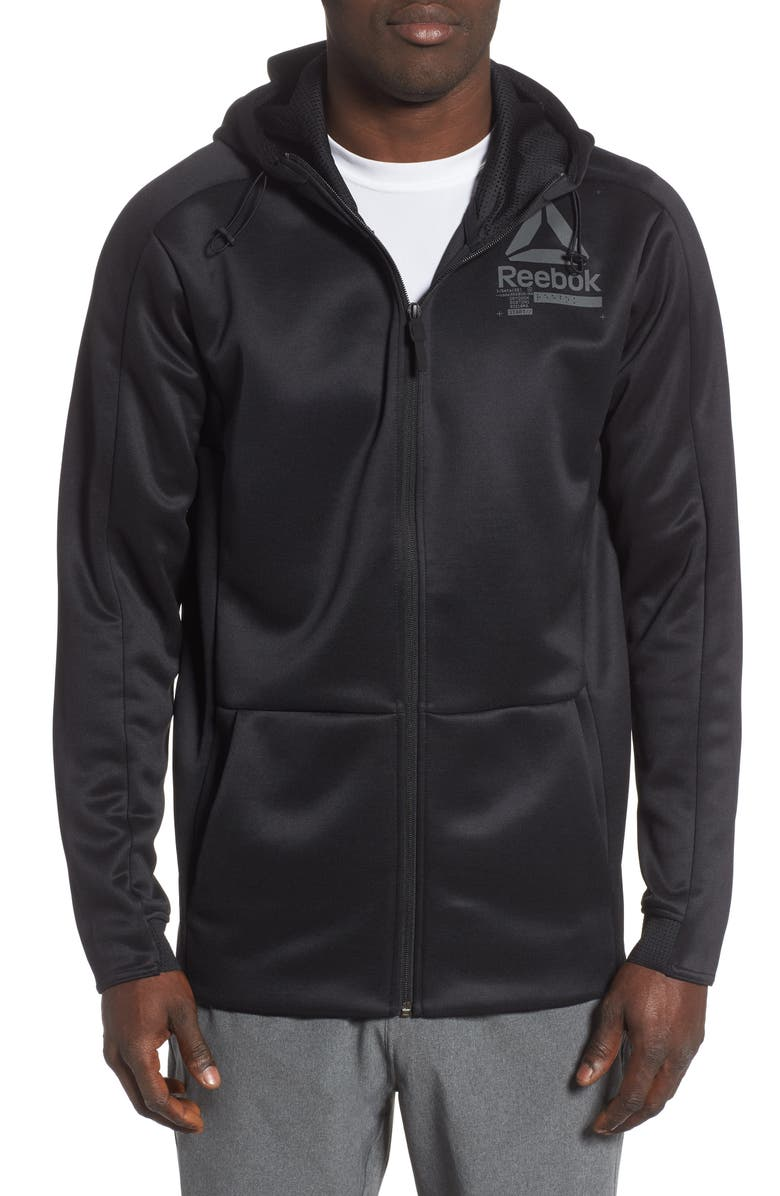 REEBOK OST Spacer Speedwick Zip Hoodie, Main, color, BLACK