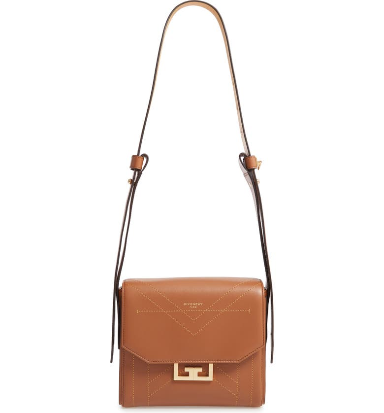 GIVENCHY Small Eden Stitched Leather Shoulder Bag, Main, color, PONY BROWN