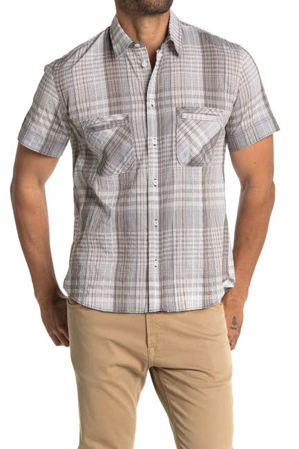 Image of Billy Reid Donelson Plaid Short Sleeve Slim Fit Shirt