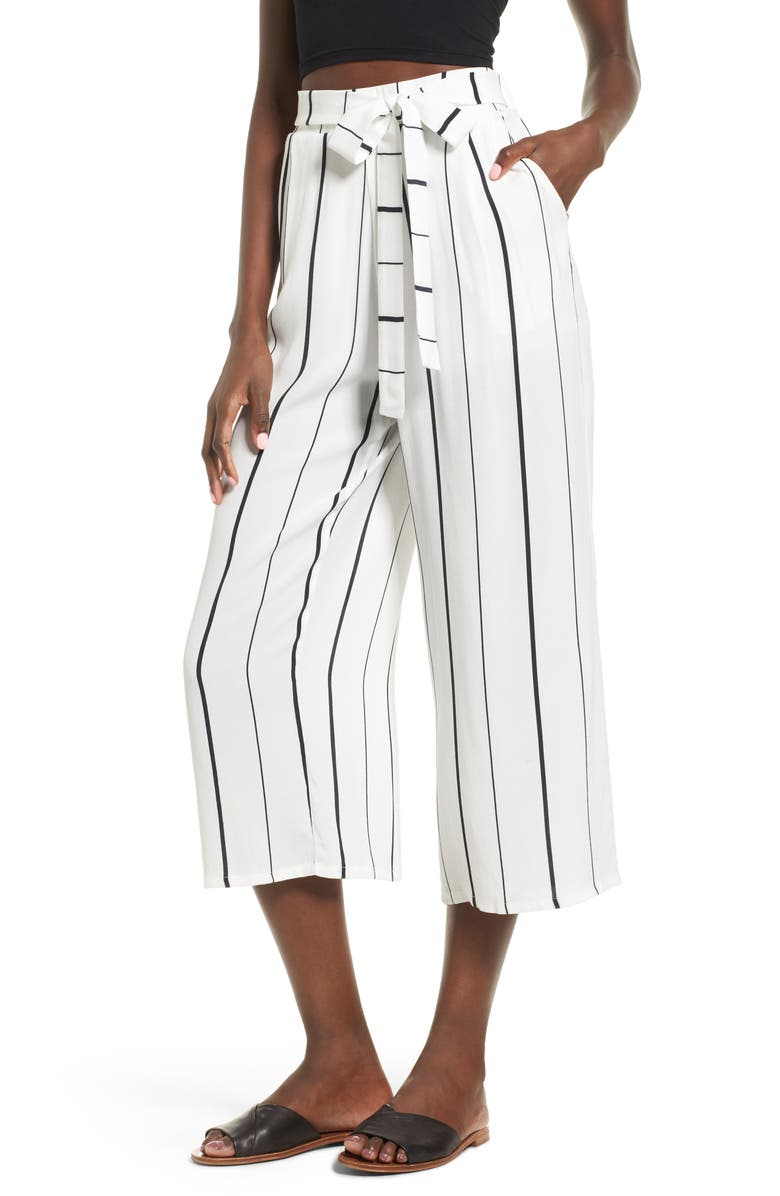 LEITH Tie High Rise Crop Pants, Main, color, WHITE BLACK JUNE STRIPE