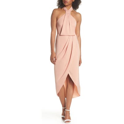 Shona Joy Knotted Tulip Hem Midi Dress, Pink