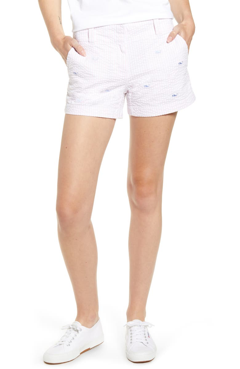 VINEYARD VINES Whale Embroidered Seersucker Shorts, Main, color, FLAMINGO