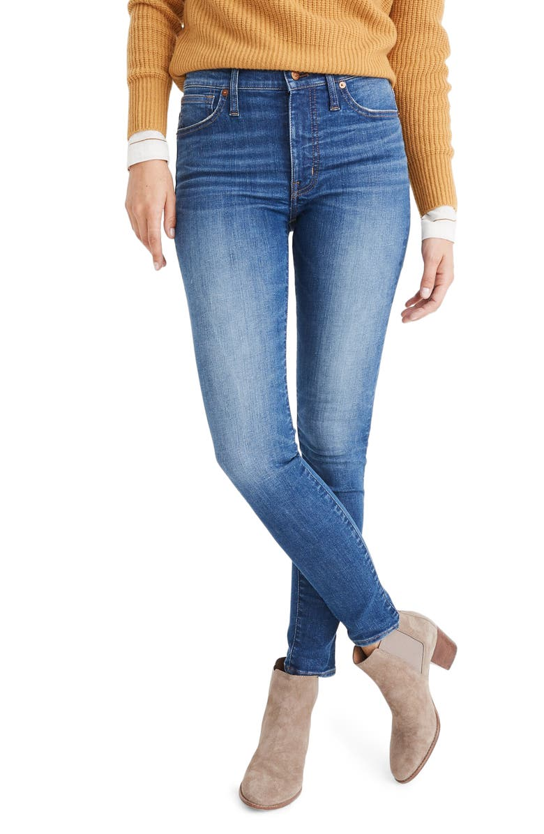MADEWELL Mid Rise Skinny Jeans, Main, color, PENDALE WASH