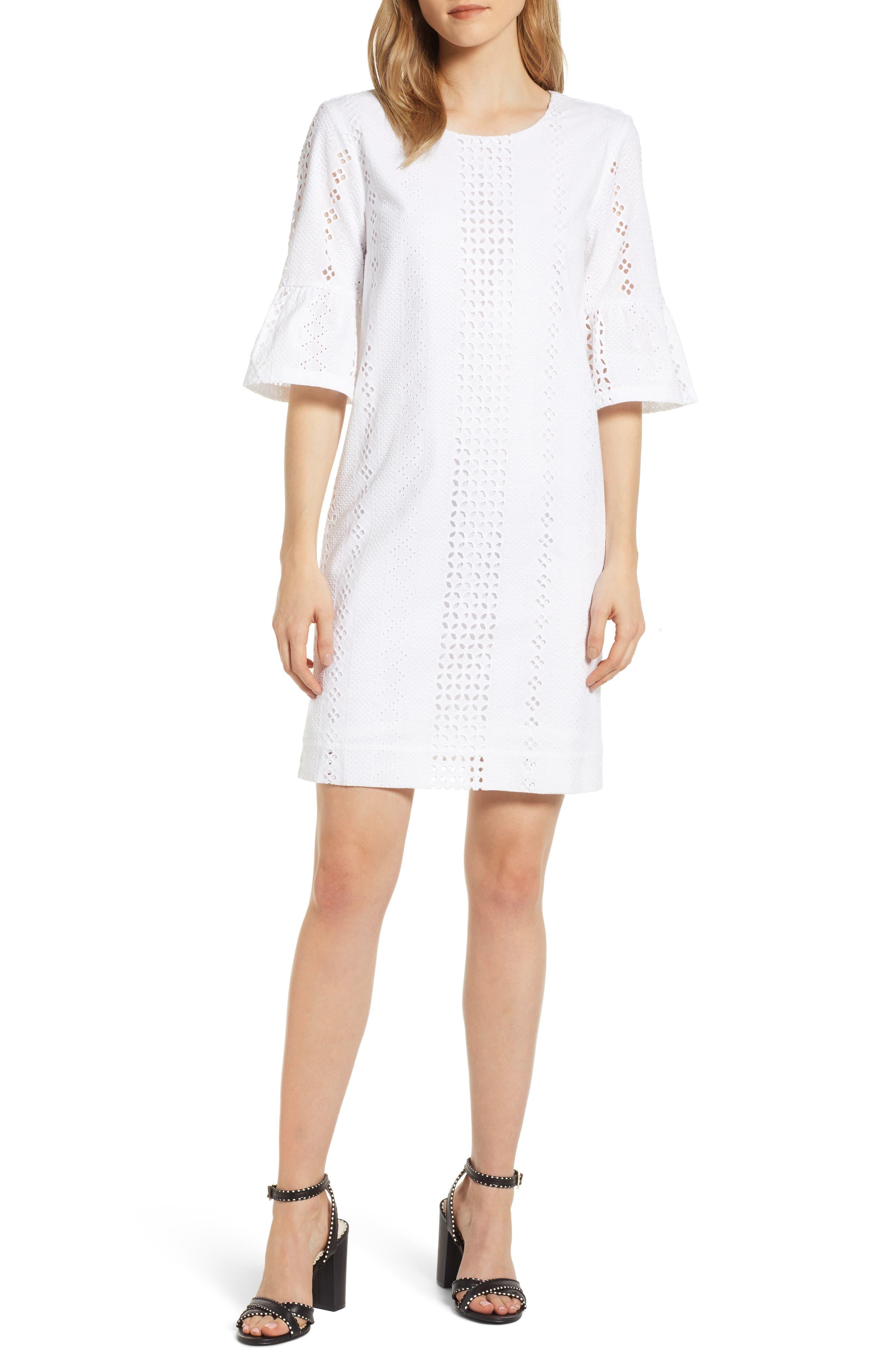 J.crew Flutter Sleeve Eyelet Dress, White