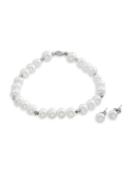Image of Savvy Cie Sterling Silver 6-7mm Cultured Freshwater Pearl Earrings & Bracelet Set
