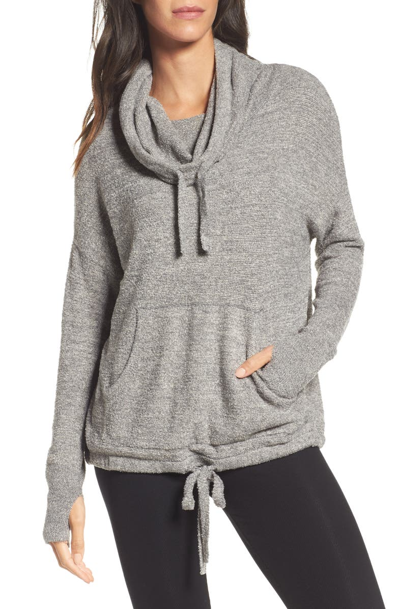 BAREFOOT DREAMS<SUP>®</SUP> CozyChic Lite<sup>®</sup> Pebble Beach Hoodie, Main, color, GRAPHITE/ STONE HE