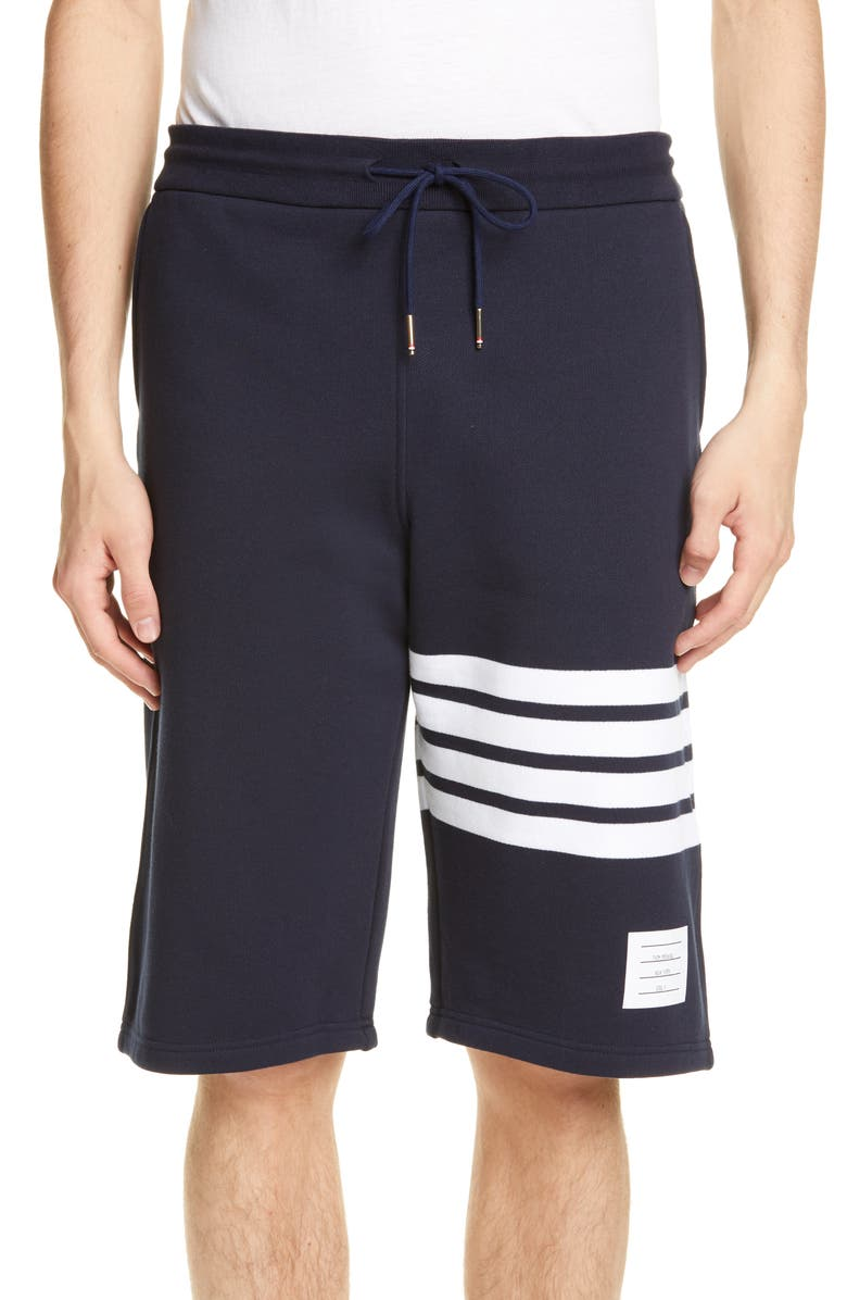 THOM BROWNE Four Bar Sweat Shorts, Main, color, NAVY