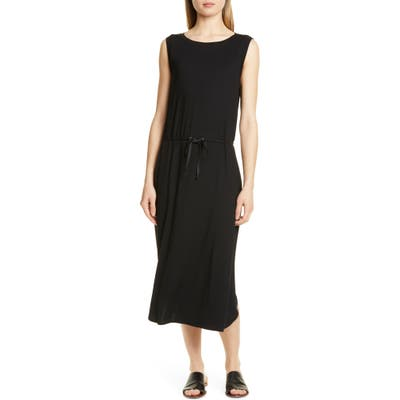 Petite Eileen Fisher Drawstring Stretch Tencel Lyocell Midi Dress, Black