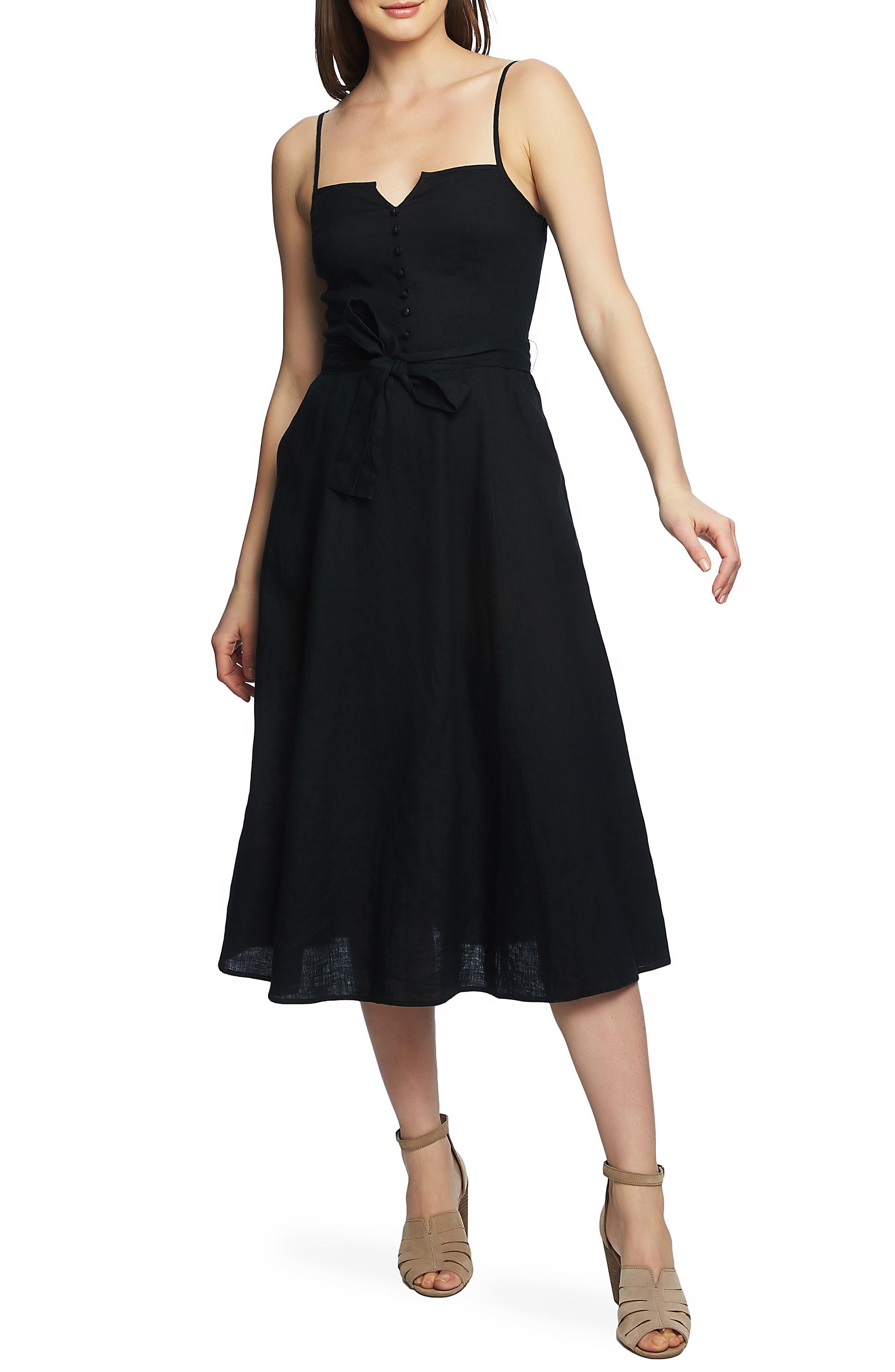1.state Button Front Midi Linen Sundress, Black