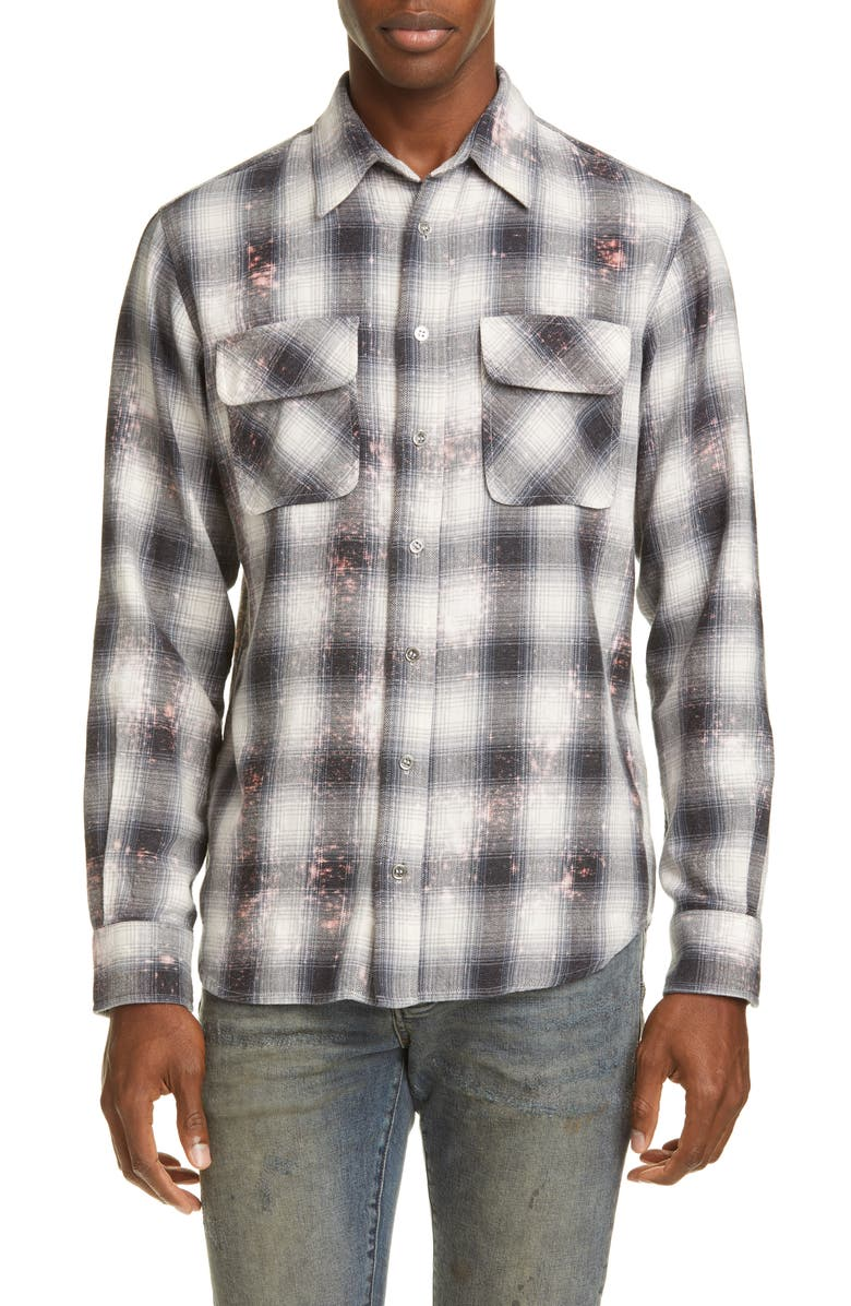 PURPLE Bleached Plaid Button-Up Flannel Shirt, Main, color, GRAY