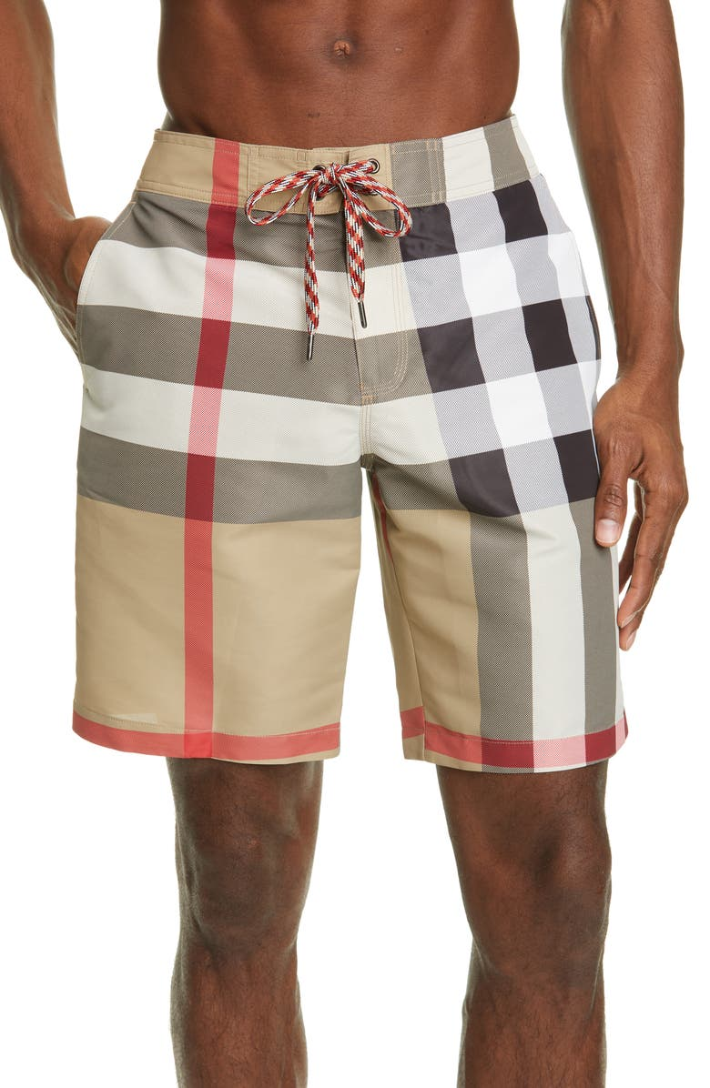 BURBERRY Breton Check Swim Trunks, Main, color, ARCHIVE BEIGE IP CHK
