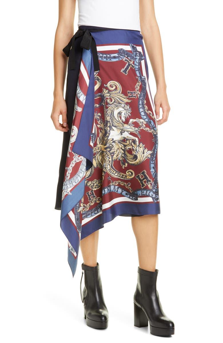 HILFIGER COLLECTION Silk Foulard Wrap Skirt, Main, color, FOULARD PRINT