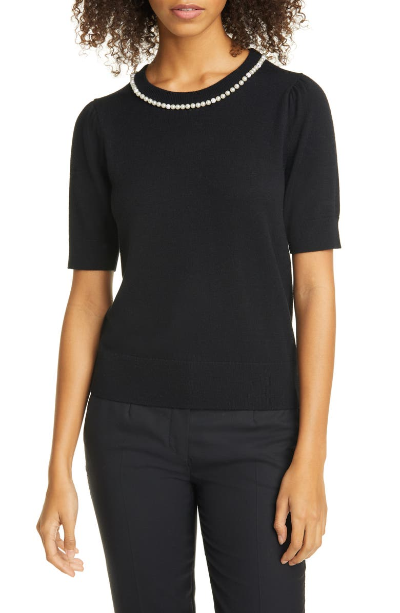 KATE SPADE NEW YORK imitation pearl and crystal pavé detail sweater, Main, color, BLACK