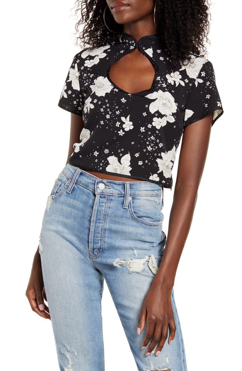 TOPSHOP Floral Print Keyhole Blouse, Main, color, BLACK MULTI