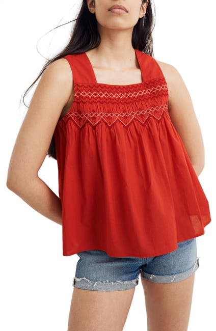 Image of Madewell Embroidered Smocked Tank Top