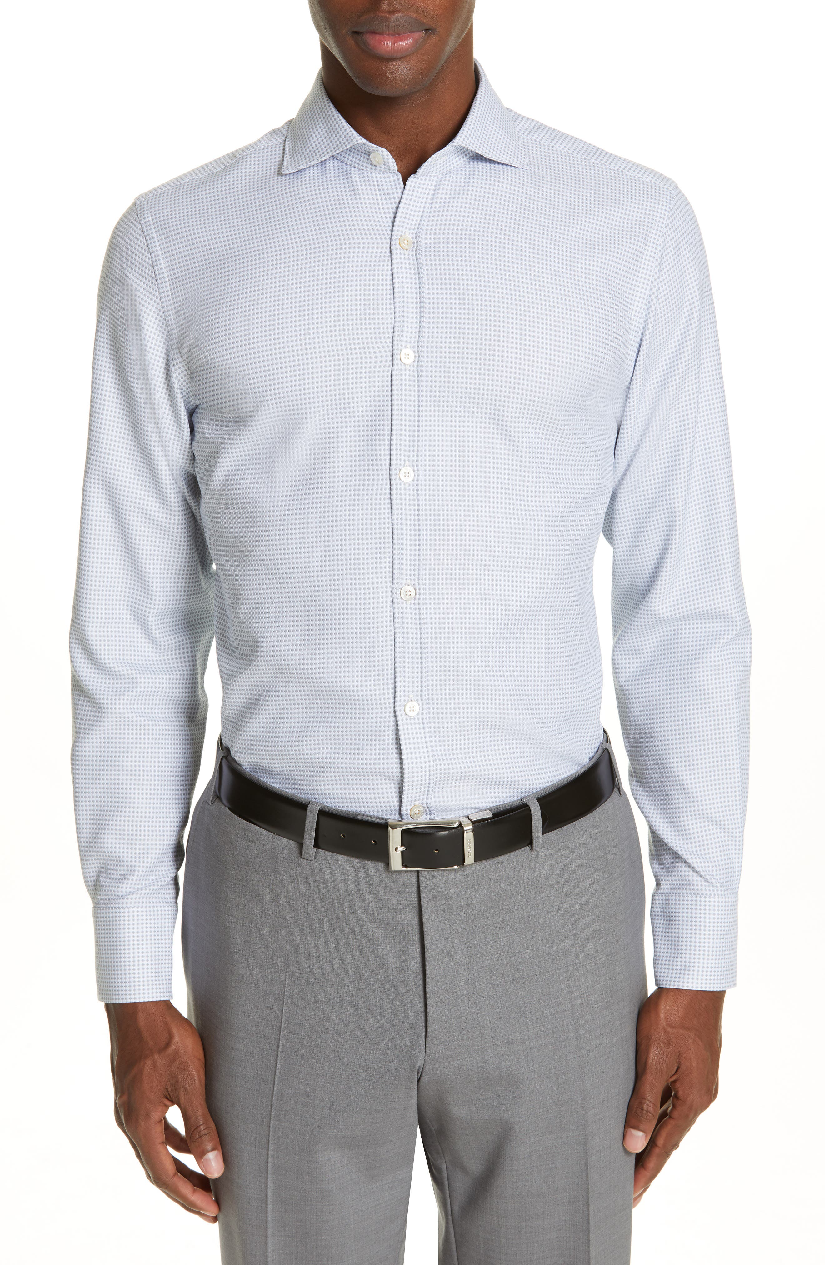 Geometric Regular Fit Cotton Dress Shirt, Main, color, GREY