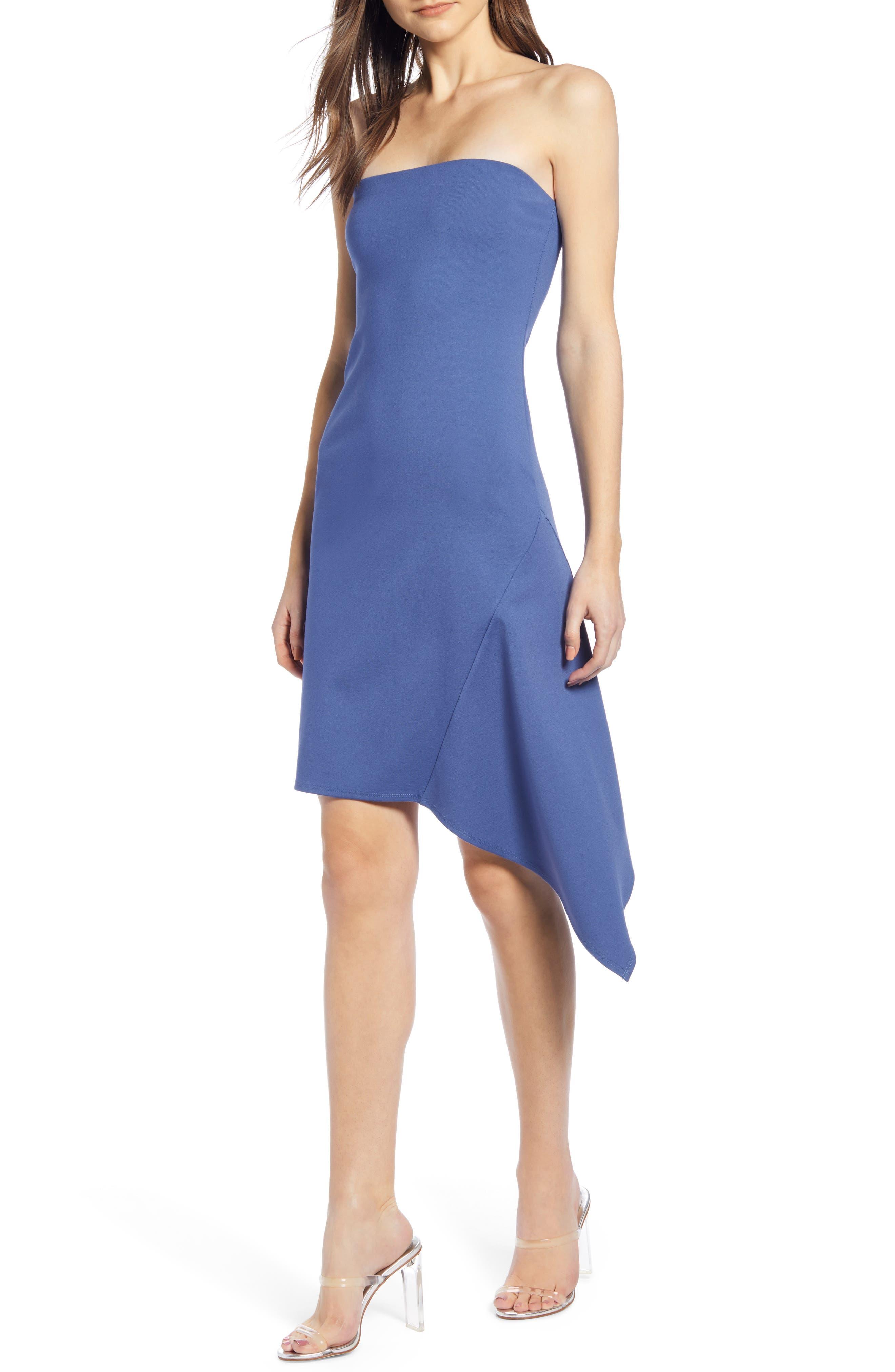 Leith Asymmetrical Strapless Tube Dress, Blue/green