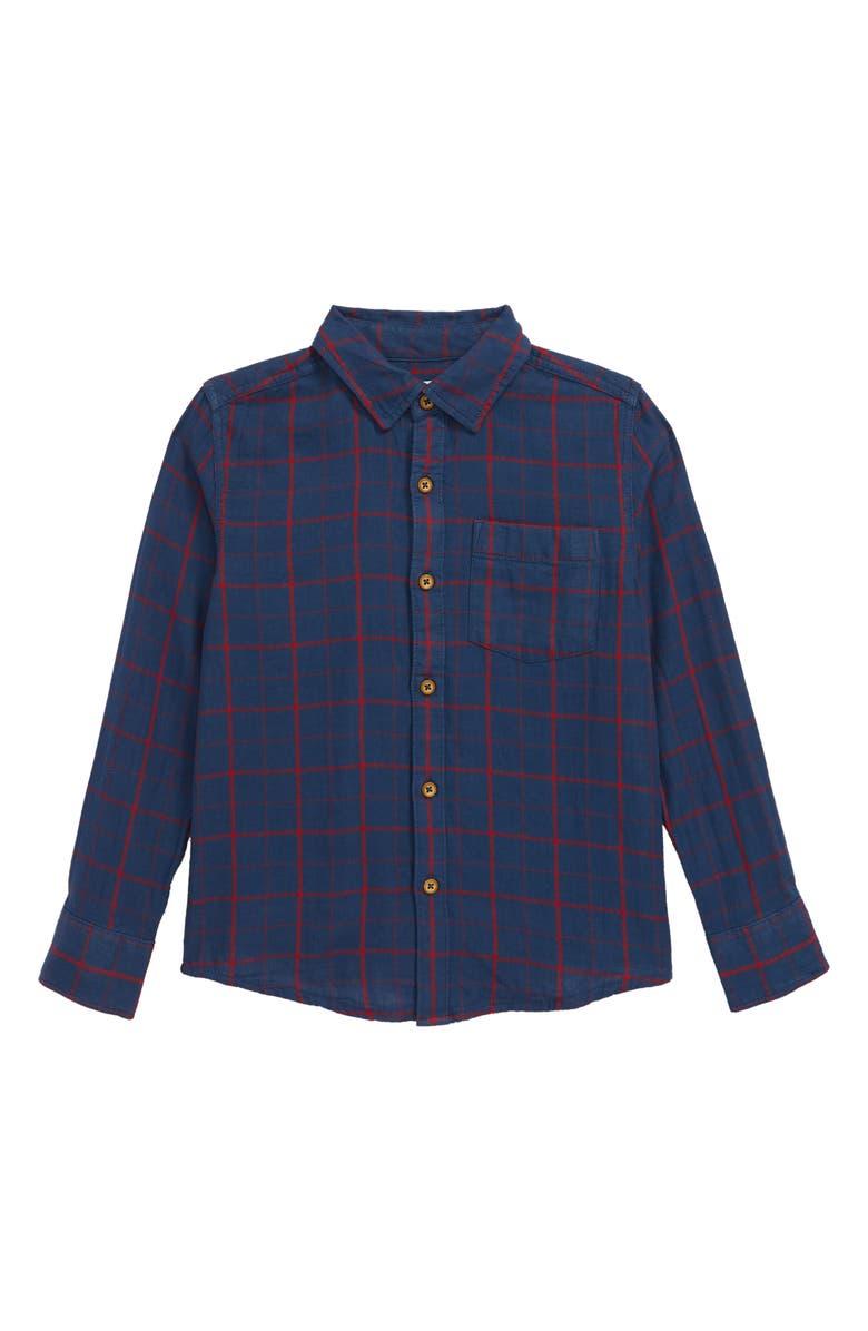 TUCKER + TATE Smore Please Plaid Button-Up Shirt, Main, color, NAVY DENIM- RED ALEX PLAID