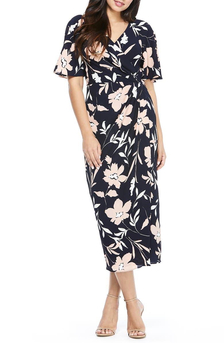 MAGGY LONDON Floral Faux Wrap Crepe Midi Dress, Main, color, NAVY/ BLUSH