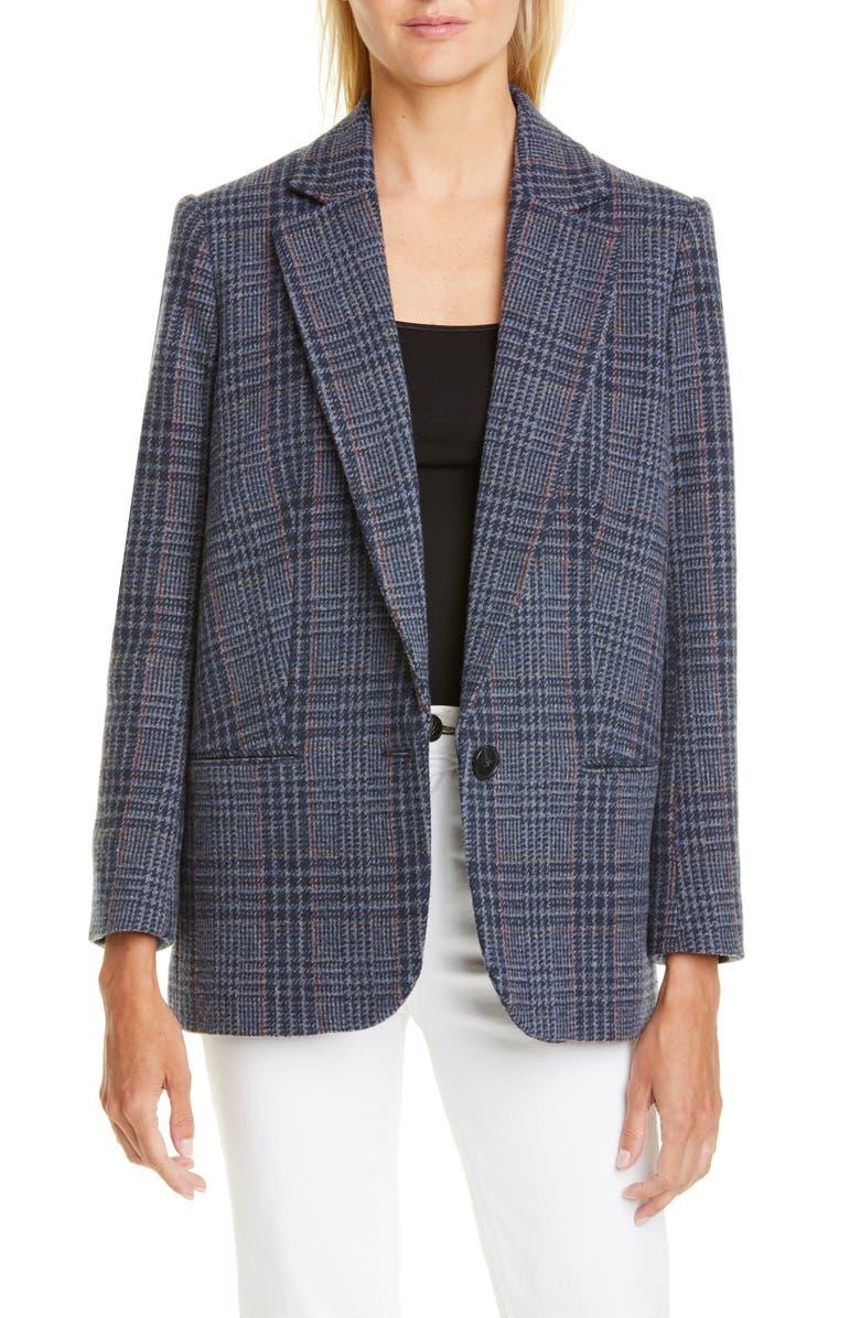 BA&SH Theo Plaid Wool Blend Jacket, Main, color, BLEUNUIT