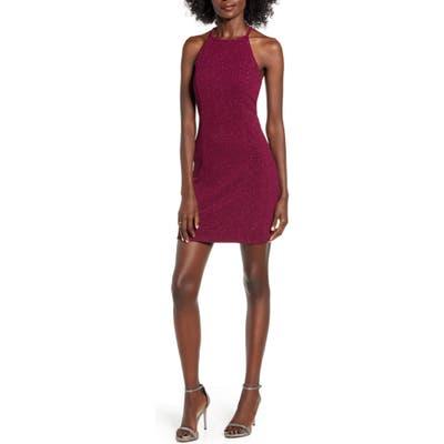 Speechless Glitter Lace Open Back Body-Con Halter Dress, Burgundy