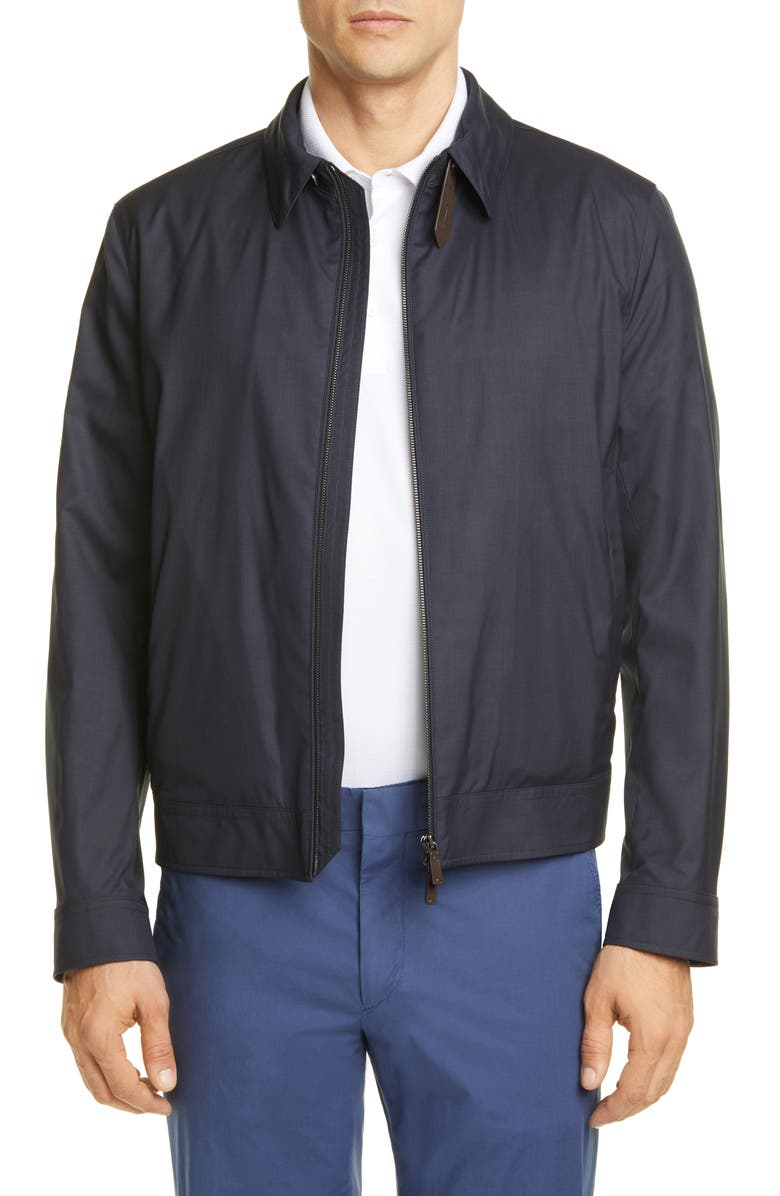 ERMENEGILDO ZEGNA Leggerissimo Wool & Silk Bomber Jacket, Main, color, NAVY