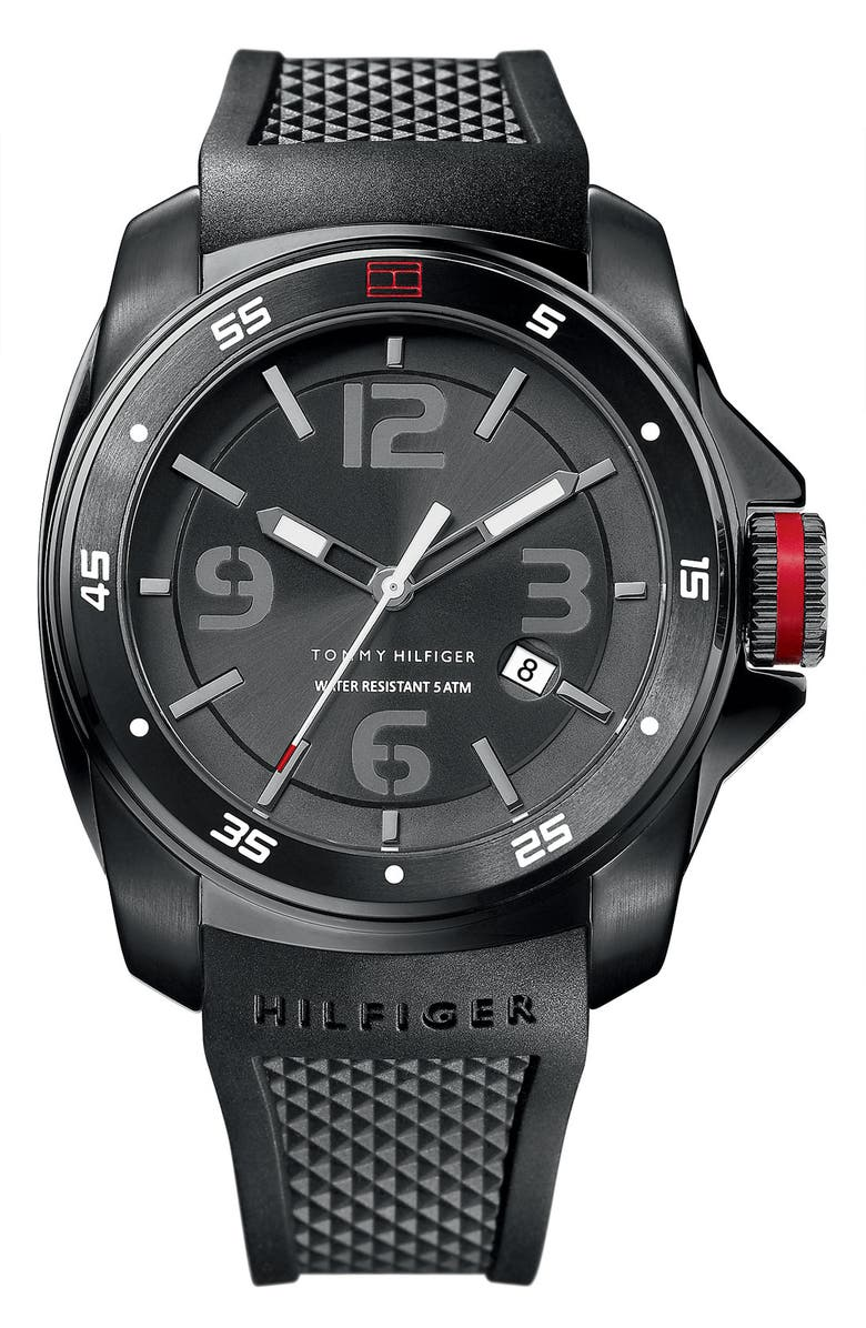 TOMMY HILFIGER Silicone Strap Watch, 49mm, Main, color, 001