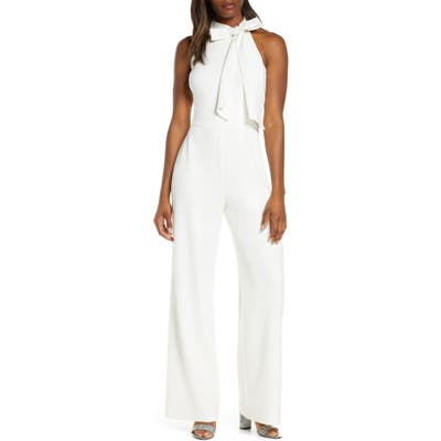 Vince Camuto Bow Neck Stretch Crepe Jumpsuit, Ivory